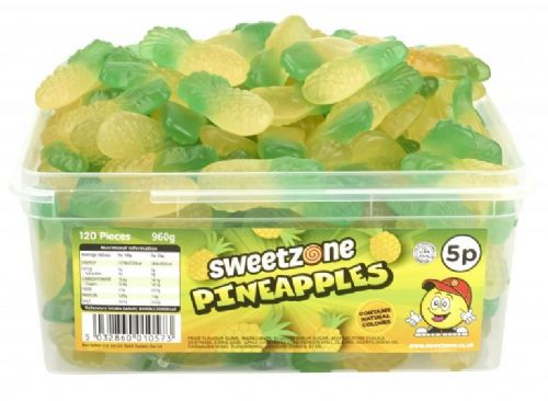 SweetZone 5p Pineapples Full Tub 120 Pieces